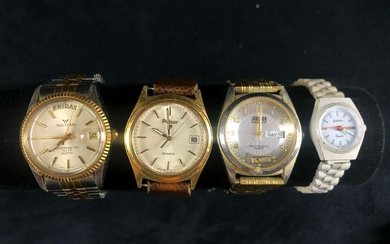 Vintage Quartz Watches Stainless Steel Lot Of 4