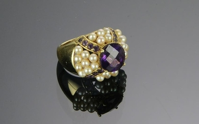 10K Gold, Amethyst & Seed Pearl Ring
