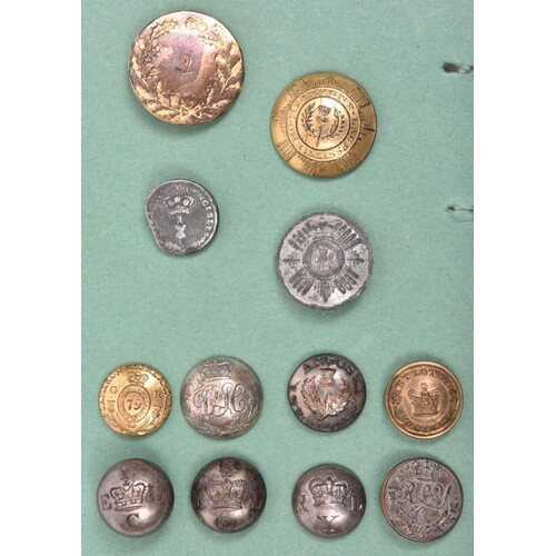 12 early Scottish buttons, including large flat 2nd or R.N. ...