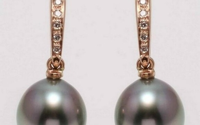 14 kt. Rose Gold - 9x10mm Peacock Tahitian Pearl Drops