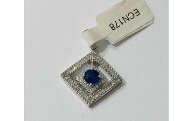 18k white Gold Pendant with 0.52ct Diamonds and Sapphires, w...