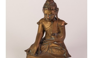 19th CENTURY THAI BRASS BUDDHA seated in the Calling the Ear...