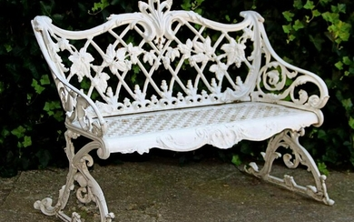 19th century white lacquered cast iron garden bench