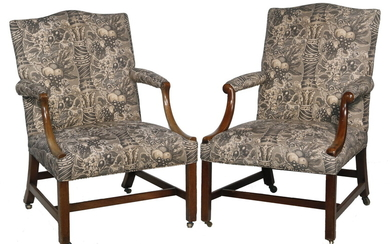 (2) ANTIQUE UPHOLSTERED ENGLISH ARMCHAIRS