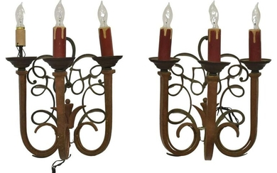 (2) TED VOSS TEXAS WROUGHT IRON WALL SCONCES