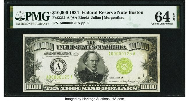 20096: Fr. 2231-A $10,000 1934 Federal Reserve Note. PM