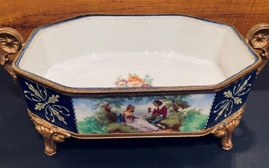 20thC French Porcelain Giltwood Center Pie