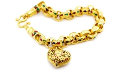 21ct Yellow gold and enamel heart bracelet with belcher link...