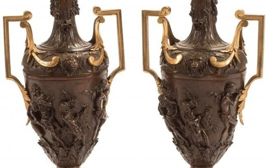 61096: A Pair of French Gilt and Patinated Bronze Urns