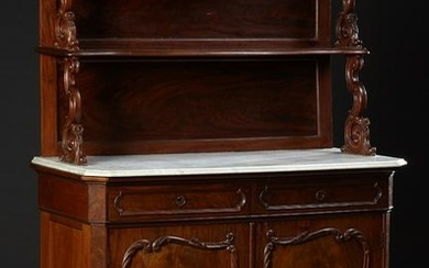 American Carved Walnut Marble Top Sideboard, 19th c.,