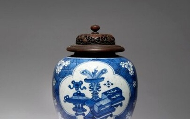 A CHINESE BLUE AND WHITE 'HUNDRED ANTIQUES' VASE KANGXI 1662-1722...