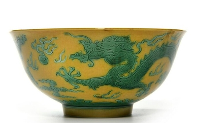 A CHINESE GREEN-ENAMELLED BOWL, CHINA, 19TH-20TH