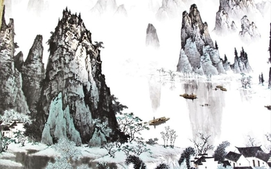 A Chinese Scroll Featuring Mountain and River Scene