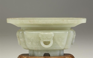 A Chinese celadon jade jardinere Qing dynasty, 19th century...