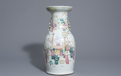 A Chinese famille rose vase with figurative design...