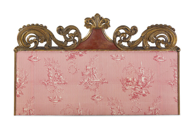 A Continental Carved and Parcel Gilt Wood Upholstered Headboard