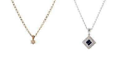 A DIAMOND AND SAPPHIRE CLUSTER PENDANT, together with a soli...