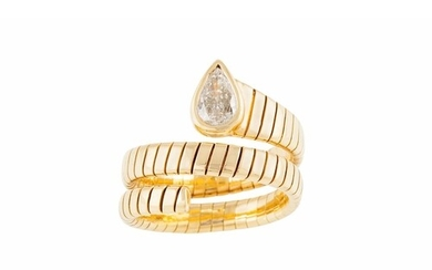 A DIAMOND SET SNAKE RING, the pear shaped diamond to sprung ...