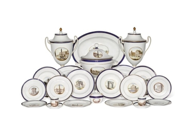 A Doccia (Ginori) porcelain topographical part dinner and dessert service, circa 1810