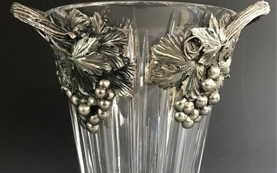 A FRANLIN MINT SILVER PLATED AND CRYSTAL ICE BUCKET
