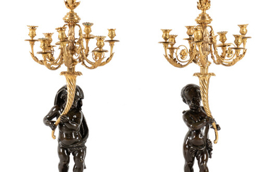 A Fine Pair of Large Louis XVI Style Marble and Parcel Gilt Bronze Figural Seven-Light Candelabra