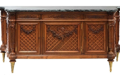A French Louis XVI-style carved beech side cabinet