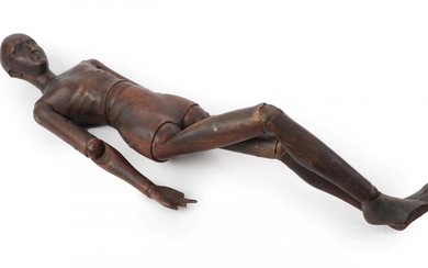 A French Walnut Artist's Lay Figure, late 19th century, naturalistically...