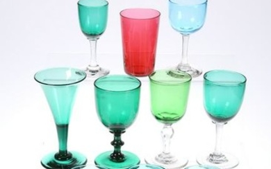 A GROUP OF TEN 19TH CENTURY COLOURED DRINKING GLASSES