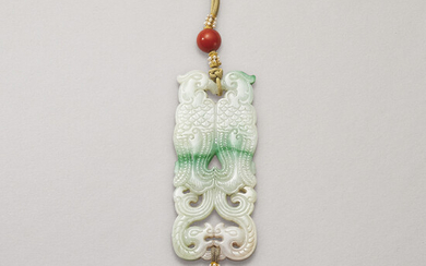 A JADEITE 'DOUBLE-PHOENIX' PENDANT, LATE QING DYNASTY, 19TH-EARLY 20TH CENTURY