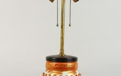 A JAPANESE IMARI-STYLE PORCELAIN LAMP. 14ins high to