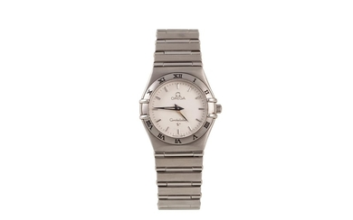 A LADY'S STAINLESS STEEL OMEGA CONSTELLATION WRIST WATCH, br...