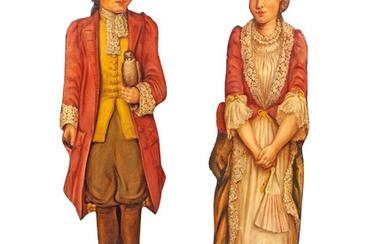 A PAIR OF PAINTED OAK DUMMY BOARDS DEPICTING A BOY AND A GIRL IN 18TH CENTURY DRESS, LATE 19TH CENTURY