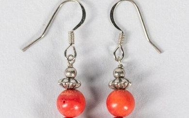 A Pair Of Coral Like Bead Earrings