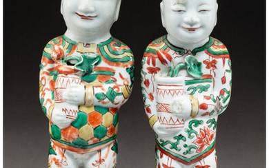 A Pair of Chinese Famille Verte Porcelain Standing HeHe Erxian Figures (Transitional Period)