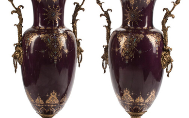 A Pair of Monumental French Sevres-Style Bronze Mounted Porcelain Vases with Covers