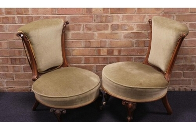 A Pair of Victorian Walnut Framed Drawing Room Chairs Covere...