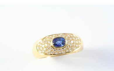 A SAPPHIRE AND DIAMOND RING the oval-shaped sapphire is set ...