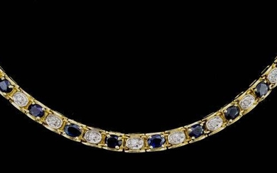 A Sapphire and Diamond Line Necklace, Modern, in gold...
