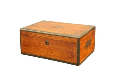 A VICTORIAN BRASS-MOUNTED CAMPHOR CAMPAIGN TOILET CASE