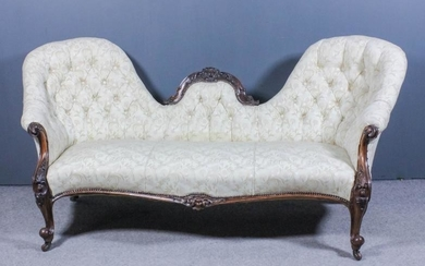 A Victorian Rosewood Framed Twin Spoon Back Settee, with...