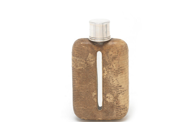 A Victorian silver and lizard skin flask