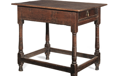 A William & Mary joined oak occasional table, with rare side drawer, circa 1690