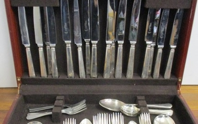 A canteen of Cooper Ludlam silver plated and stainless steel...