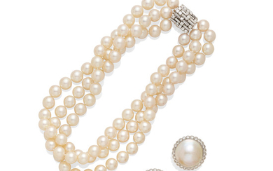 A collection of mabé pearl and cultured pearl jewelry, French