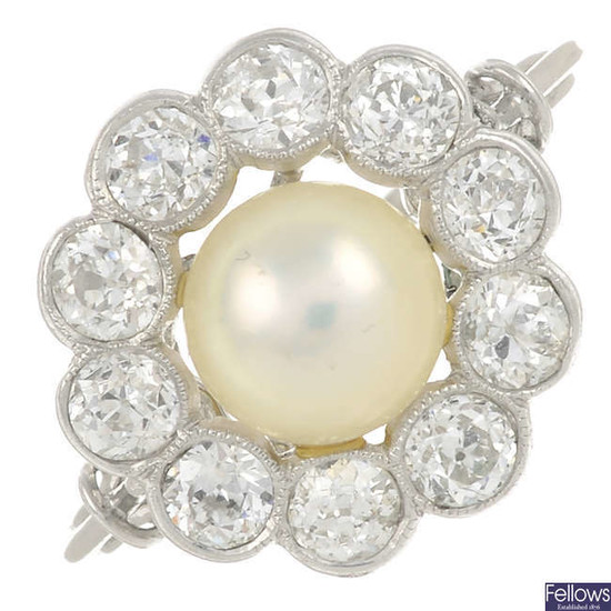 A cultured pearl and old-cut diamond cluster ring.