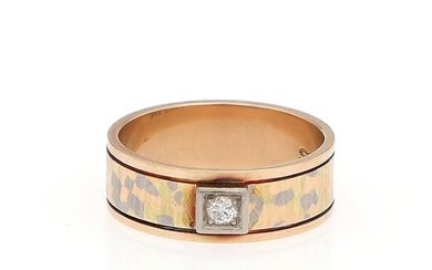 A diamond ring set with a brilliant-cut diamond, mounted in 14k tri-coloured gold. Size app....