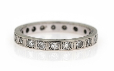 SOLD. A full diamond eternity ring set with numerous single-cut diamonds, mounted in 14k white...