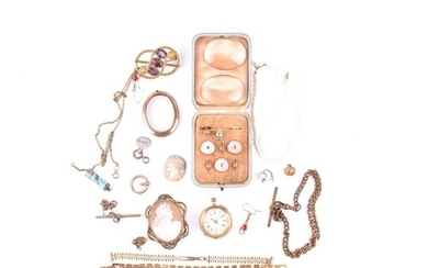 A group of costume jewellery and gilt metal items, to includ...