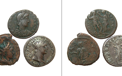 A group of three Roman bronze and silver coins