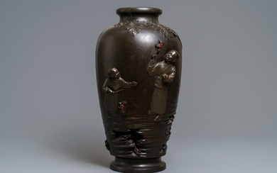 A large Japanese bronze vase with crab fishing...